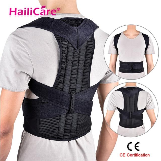 Volver Corrector de postura hombro Lumbar soporte columna correa de soporte ajustable adulto corsé postura corrección cinturón cuerpo cuidado de la salud