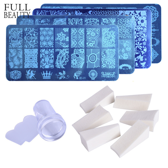 1pc Nail Stamping Plate+8pc Gradient Sponge+1pc Clear Jelly Silicone Stamper Scraper Steel Stencils Set Nail Art Template CH804