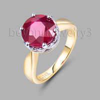 Fine Jewelry Solid 18Kt Multi Tone White&Yellow Gold Natural Red Ruby Wedding Promised Ring SR00297