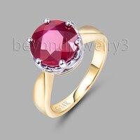 Fine Jewelry Solidna 18Kt Wielu Tone White & Yellow Gold Natural Ruby Red Ślub Pierścień SR00297 Obiecał