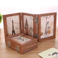 6 7 Inch Three Folding Retro Nostalgia Wood Picture Framework Vintage Wedding Birthday Souvenir Photo Frames