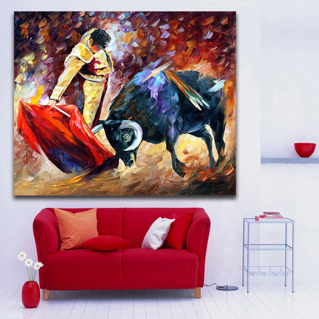 Wonderful Spanish Bullfighting Palette Knife Painting Canvas Print Picture  For Living Room Bedroom Office Wall Art