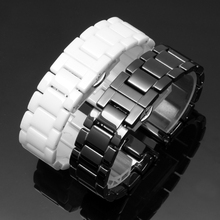 16mm 18mm 20mm High quality Silver Depolyment Watch Buckle and White Ceramics Watch Bands Bracelets Common