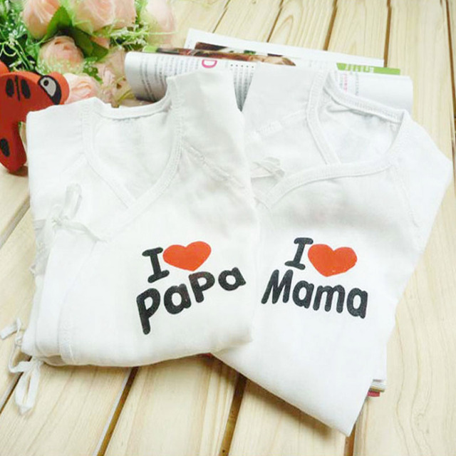 31c33e062 1PC Newborn Clothing Baby Clothes Cotton Printed I Love Mom Dad Baby ...