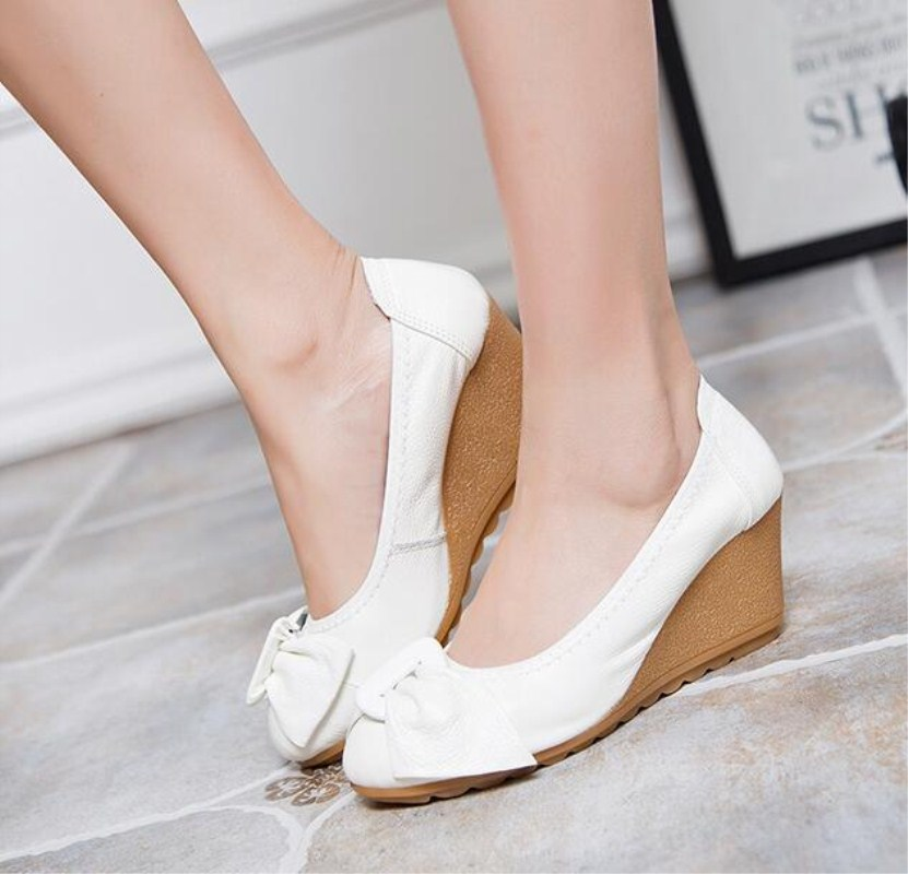 2016 Fashion Women Wedge Shoes Ægte Læder Rundtå High Heels Pumps Woman Mom Shoes