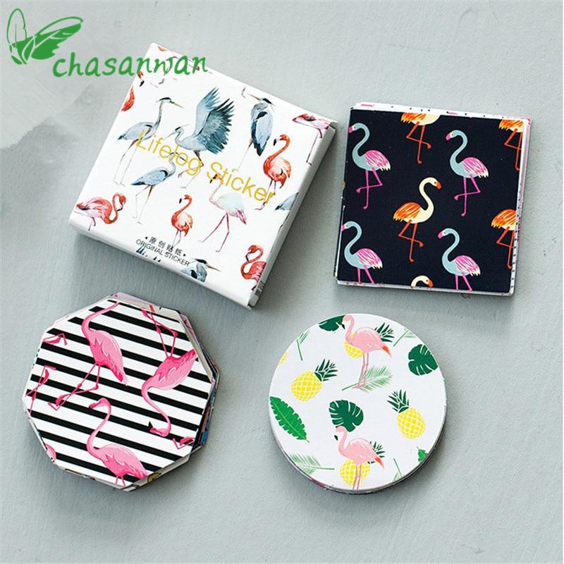 45Pcs Cute Flamingo Paper Sticker DIY Gift Craft Label Birthday Party Decorations Cartoon Scrapbook Supplies Kids Favor Gift,Q