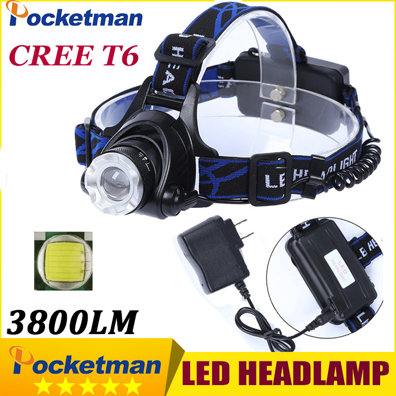 T6 Xm-L Led Headlamp 3800Lm Headlight Flashlight Head Torch Linterna Cree Xml T6 With 18650 Battery/Ac Charger Fishing Light crazyfire led flashlight 3t6 3800lm cree xml t6 hunting torch 5 mode 2 18650 4200mah rechargeable battery dual battery charger page 4