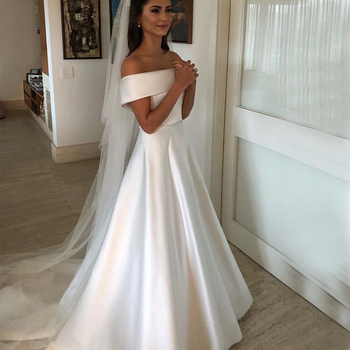 Simple A Line Wedding Dresses Satin Off The Shoulder Bridal Gowns Sweep Train Casual Zipper With Buttons Back - discount item  30% OFF Wedding Dresses