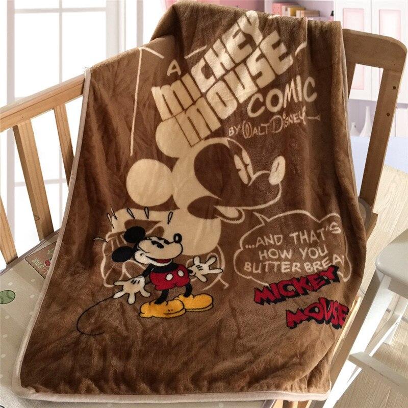 Disney Cute Cartoon Textile Vintage Mickey Children Kids Soft Warm Sofa Coral Fleece Throw Blanket Rug Plush 70X100cm