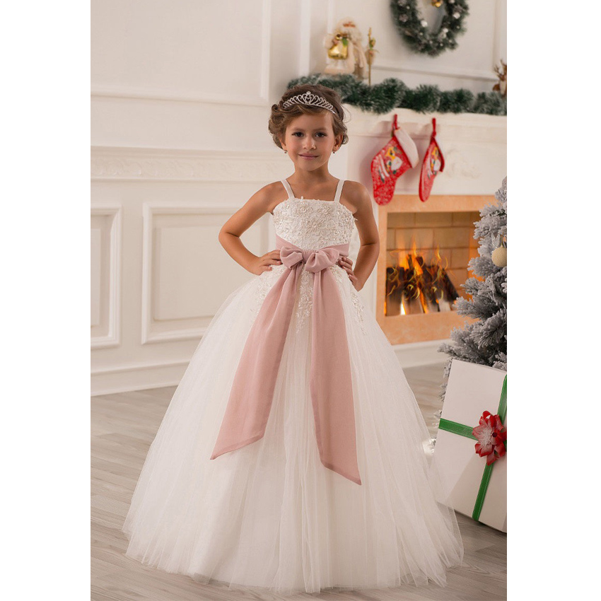 Gown For Flower Girl Wedding: Elegant Ball Gown Flower Girl Dress 2016 With Bow Kids