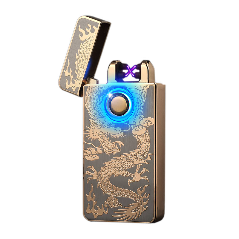 Double Arc Electric Lighters USB Charging Lighters For Cigarette Kitchen Smoke Lighters Fingerprint Operate Lighters Windproof