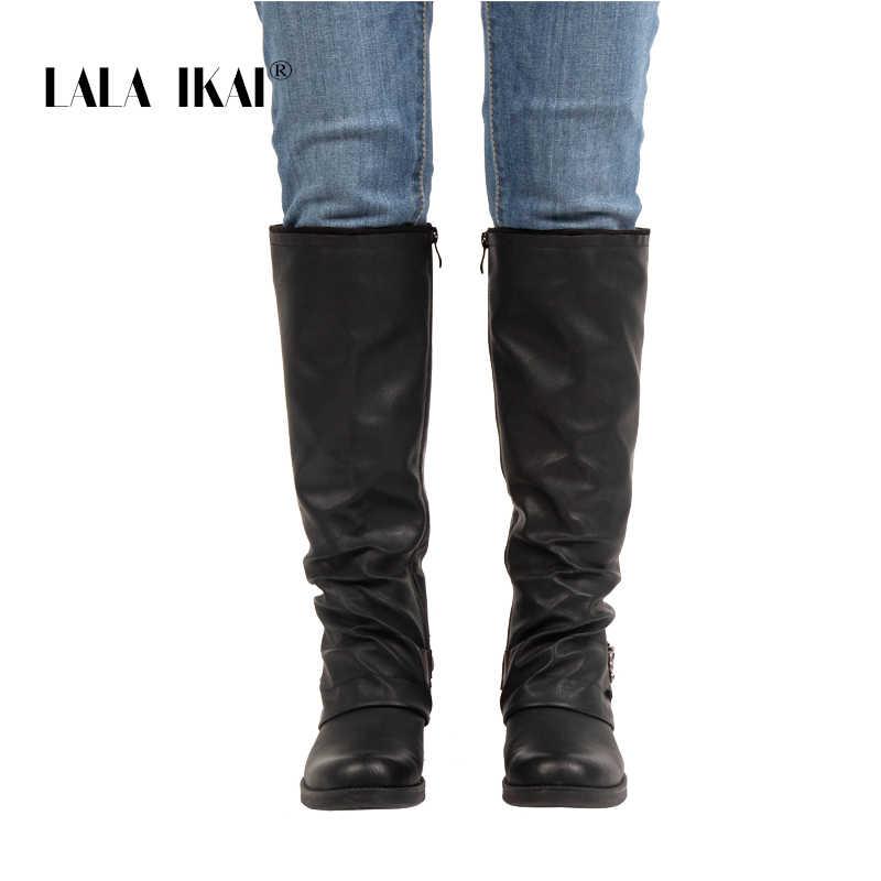 LALA IKAI Çizmeler Kadın Diz Yüksek PU Siyah Kış Ayakkabı Med Topuk Toka Fermuar Batı PU Deri Çivili Çizmeler 014A2702 -45
