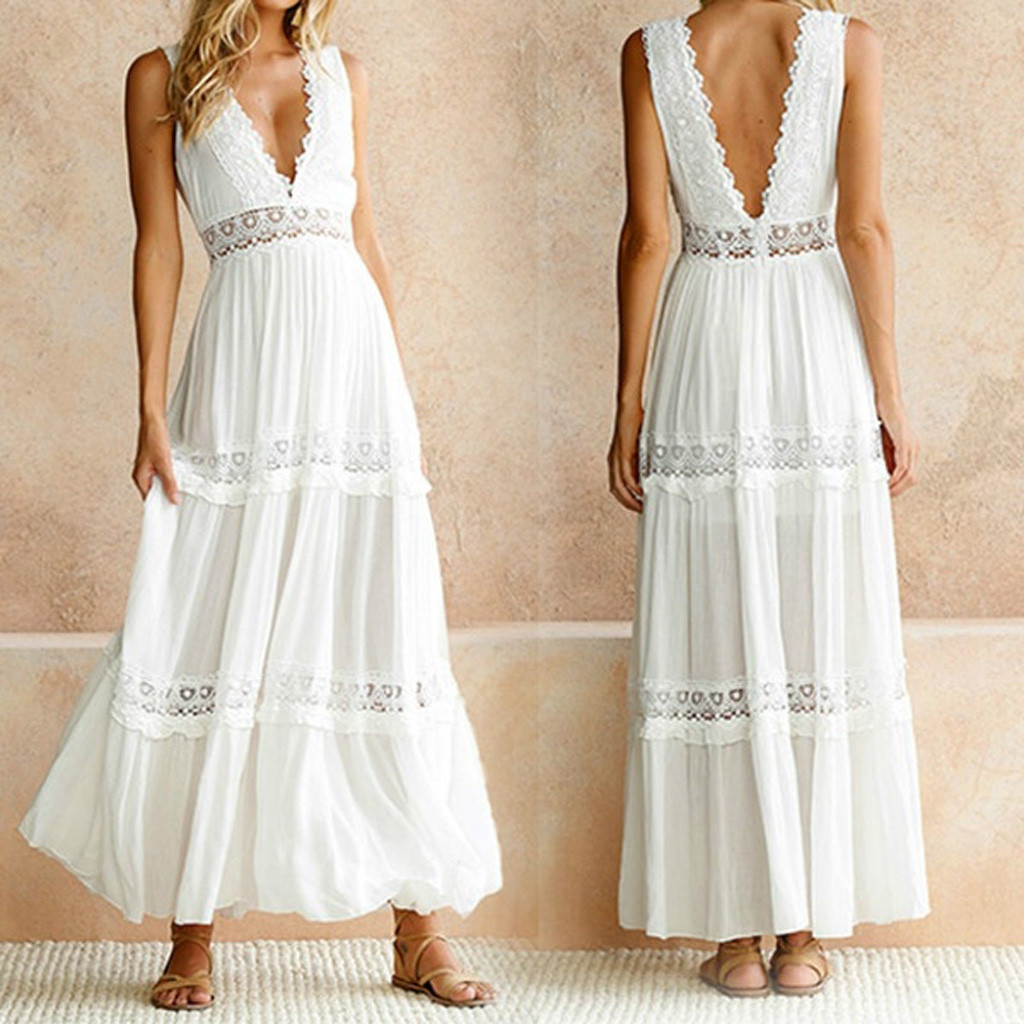 <font><b>2019</b></font> Hot Sale <font><b>Women's</b></font> <font><b>Summer</b></font> Deep V Neck <font><b>Elegant</b></font> <font><b>Lace</b></font> <font><b>Sexy</b></font> <font><b>Fashion</b></font> Beach Maxi DressSummer <font><b>Dress</b></font> <font><b>Women</b></font> Drop shipping image