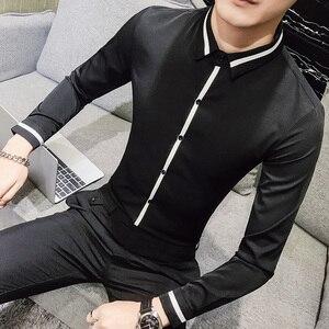 Image 4 - Camisa Social Masculina คุณภาพสูงฤดูใบไม้ผลิเสื้อชุดเจ้าบ่าว Tuxedo เสื้อผู้ชาย SLIM FIT แขนยาวสังคมเสื้อ