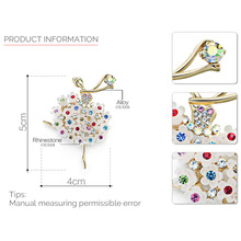 Multicolor Crystal Flower Skirt Ballet Dancer Clothes Brooches