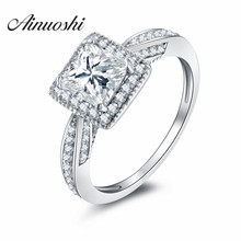 AINOUSHI Luxury 1.25 Carats Sona Princess Cut Ring 925 Sterling Silver Pave Sona Engagement Rings For Women Wedding Ring Jewelry