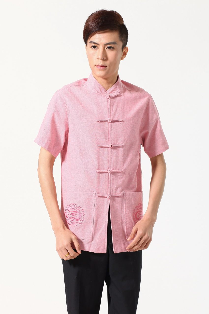 2016 New Fashion Pink New Summer Tradition Chinese Men's Cotton ...