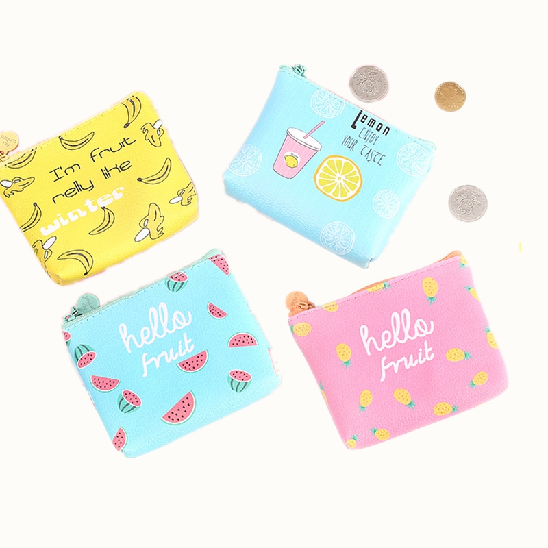 eTya 2017 New Cartoon Small Mini Coin Wallet Purse for Women Girls Pu Leather Cute Banana Key  Money Bag Holder Case Pouch