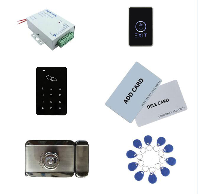 access control kit,standalone access control +power+ inteligent mute lock+ exit button+2 manage card,10 keyfob ID tags,sn:set-9 admin manage