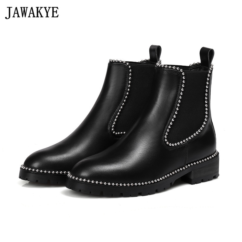 Real leather punk style rivets studded Ankle Boots for women string beaded martin Booties Zapatos Mujer