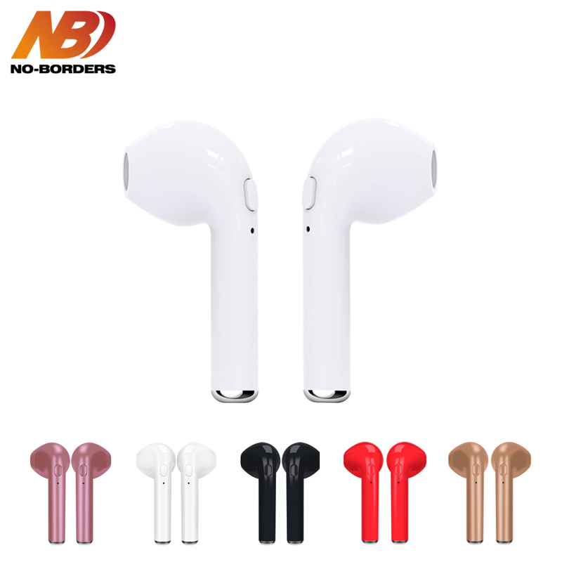 NO-BORDERS TWS i7s Bluetooth Headphone Mini Wireless Cordless Headset with Mic Stereo Sport in ear Earbuds Earphone For Phone new arrival syllable d900 mini headphone bluetooth 4 1 stereo wireless in ear earphone bluetooth headset mini earbud with mic