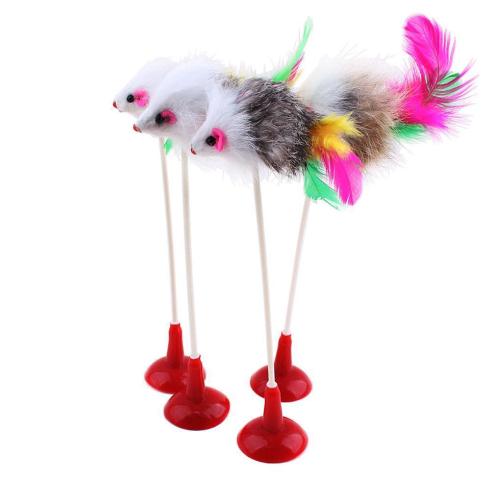 1pc Funny Pet Cat Toys Feather False Mouse Bottom Sucker Cat Kitten Playing Toys Pet Seat Scratch Toy 20cm Drop Shipping