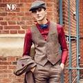 Brand Men Clothing2016Autumn Winter 31.2%Wool men casual slim fit suit vest waistcoat men woolen formal wedding gilet V-Neck