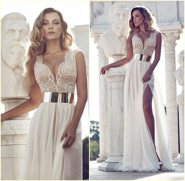 White a Line Prom Dress Slit
