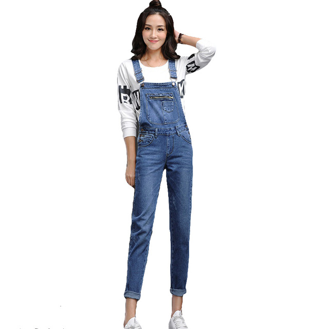 5ae30b8ca9f New Arrival Women Blue Denim Overall Multi Pocket Suspender Trousers Sweet Jeans  Jumpsuits for Girls Size