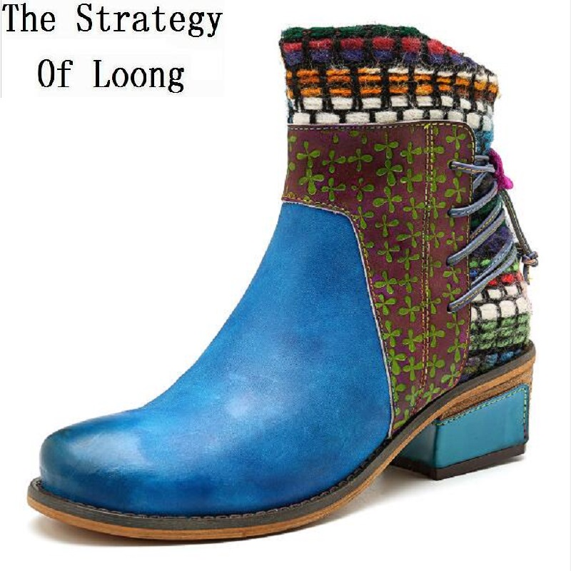 New Fashion Genuine Leather Zip Women Ankle Boots Spring Autumn Vintage Thick Heels Sewing Mixed Colors