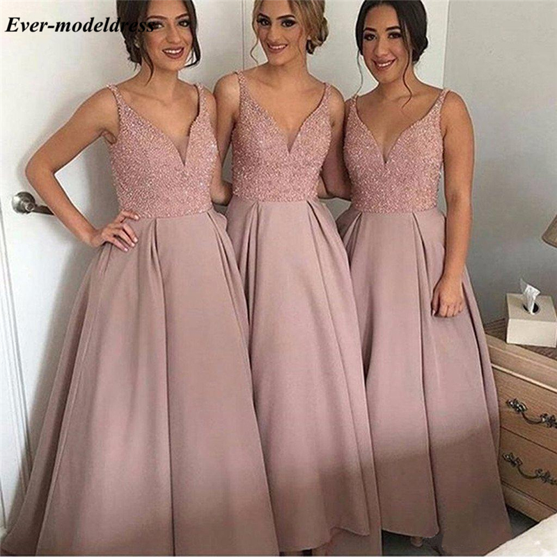 Satin With Rhinestone Country Bridesmaid Dresses A-Line Floor Length Wedding Guest Prom Party Gowns Vestido De Festa Longo