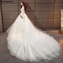 d1ceaa2809c2f Luxury Lace Long Sleeve Mulsim Wedding Dresses 2018 Ball Gown Long Tail  Wedding Dress Plus Size