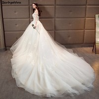 Luxury Lace Long Sleeve Mulsim Wedding Dresses 2018 Ball Gown Long Tail Wedding Dress Plus Size Princess Bridal Gowns Real Photo