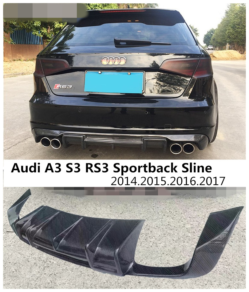 carbon fiber rear lip spoiler for audi a3 s3 rs3 sportback. Black Bedroom Furniture Sets. Home Design Ideas