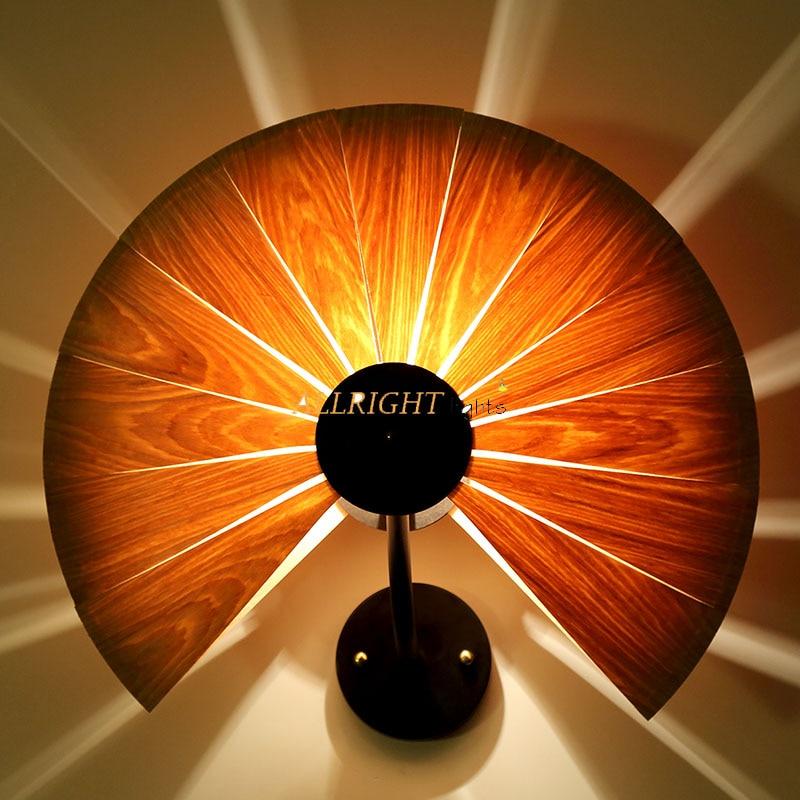 Bois naturel pour ventilateur/amour coeur abat jour mural lampe avec fer en métal nouvelle décoration style souutheast pour café bar - 3
