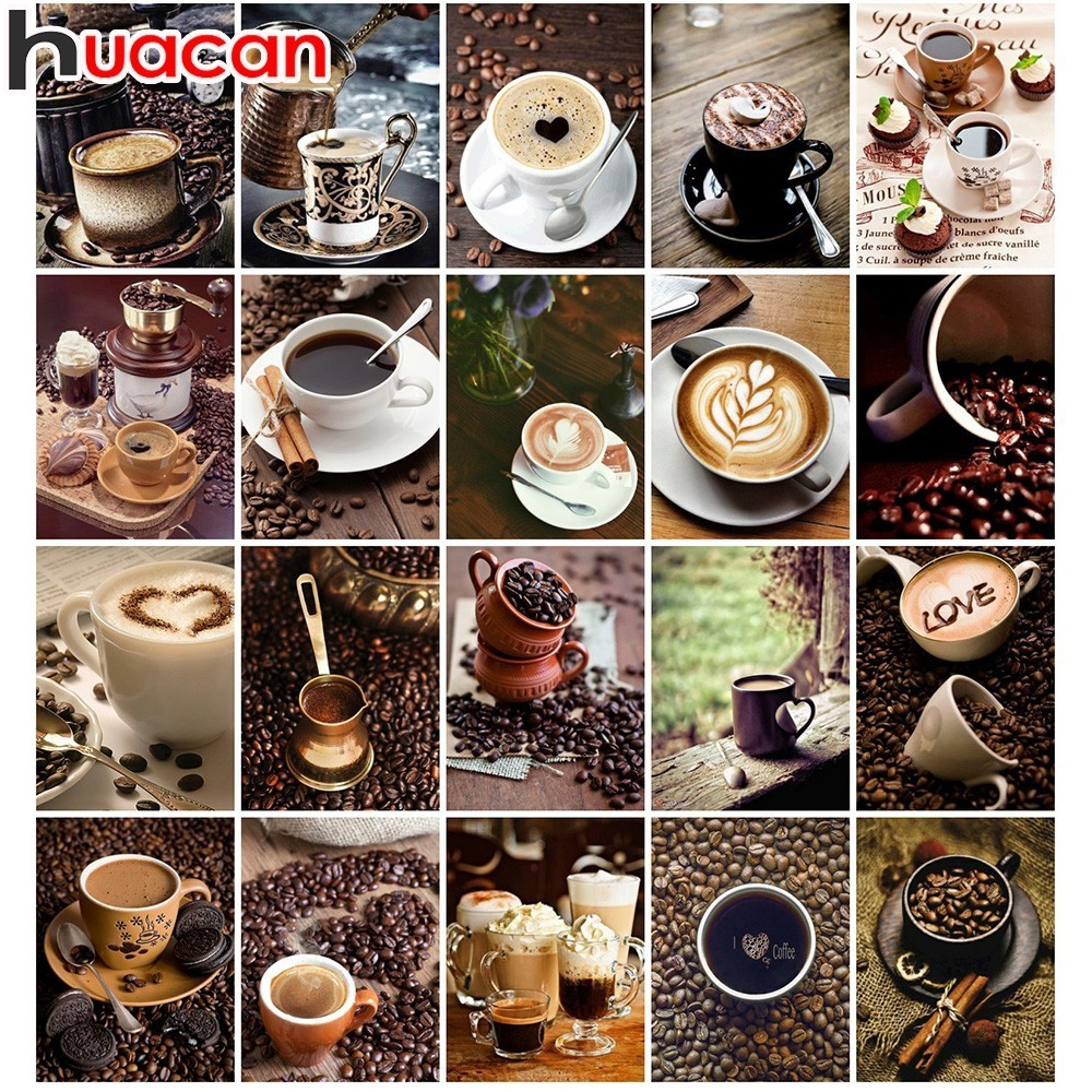 Huacan Diamond Embroidery Coffee Cups Full Square Diamond Painting Cross Stitch 5d Diy Rhinestone Mosaic Home AdornHuacan Diamond Embroidery Coffee Cups Full Square Diamond Painting Cross Stitch 5d Diy Rhinestone Mosaic Home Adorn