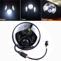 For Harley 7 Inch Headlight Motorcycle Round LED Halo Headlight H4 H13 Angel Eyes Light DRL