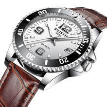 Luxury brand mens watches double calendar leather waterproof luminous quartz