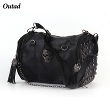 Fashion Black Luxury Women Bags Rivet Tassels Shoulder Bag  Chain Cross-body&Messenger With Good Designer Larger Capacity Hot