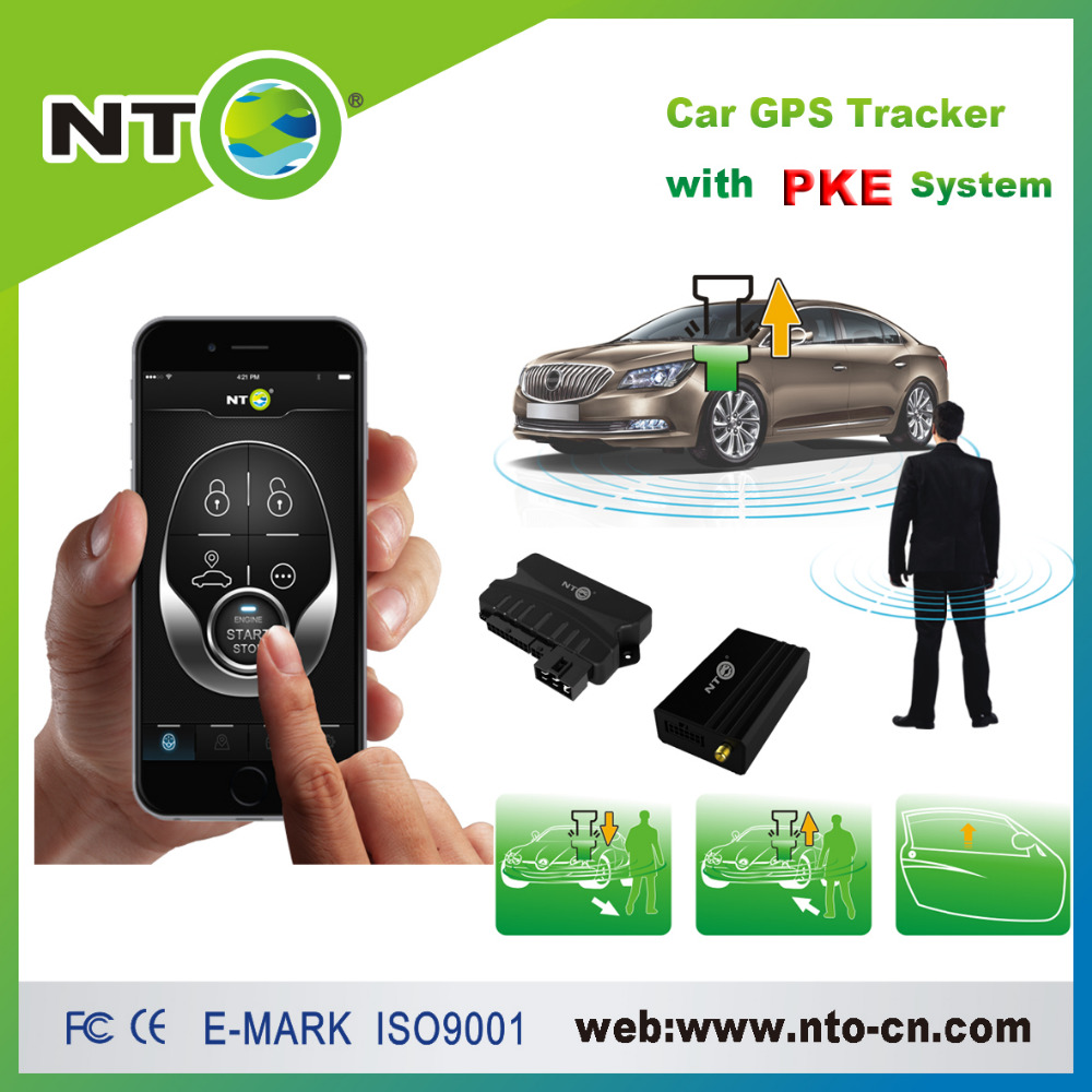 NTG01C new pke car alarm with engine start stop button supporting gsm mobile app or sms control car gps online tracking