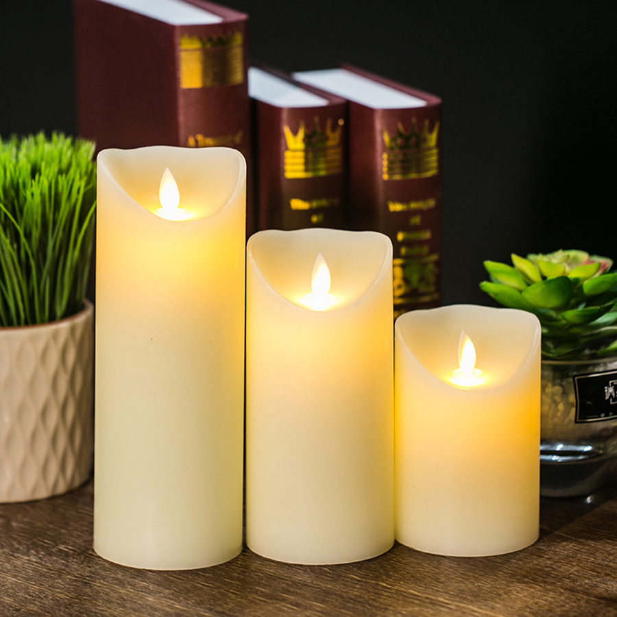 สร้างสรรค์ LED อิเล็กทรอนิกส์ Flameless เทียนไฟการควบคุมระยะไกลจำลองเปลวไฟกระพริบเทียนโคมไฟที่ใช้ในครัวเรือนของขวัญตกแต่ง
