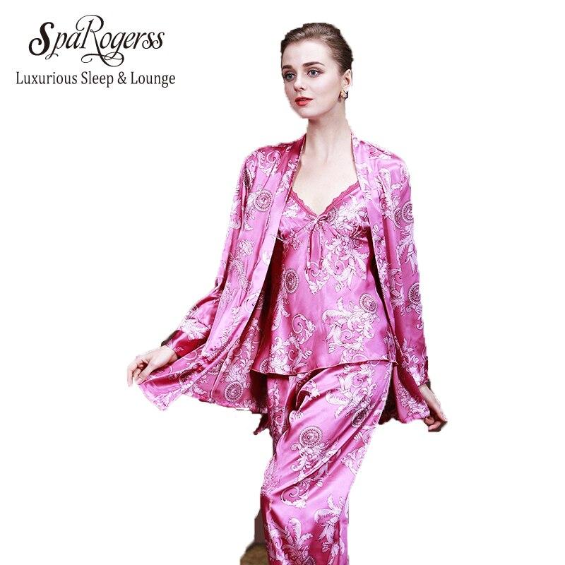 8467ebaba Enviar Pelo IML Mulheres de Seda Calças De Pijama Robe Set 2018 Moda Verão  Senhora Robe Top Calças 3 pcs Roupas Impressão salão sono RU013