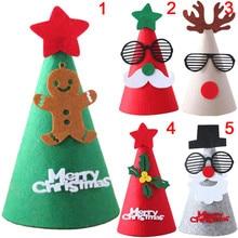 1 unid Navidad Fieltro feliz sombrero Navidad sombrero Fieltro tapa Santa  Claus muñeco de nieve Navidad forma para niños adultos. 1671a941a91