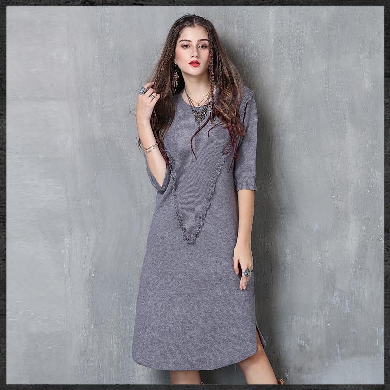 KEER 2017 Womens Autumn New Round Neck Sweater Dress Retro Large Size Tassel Sleeve Dress
