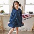 Джинсы с длинным рукавом девушки платья хлопка весна осень 2017 джинсовая дети платья для девочек 5 6 7 8 9 10 11 12 лет школы одежда