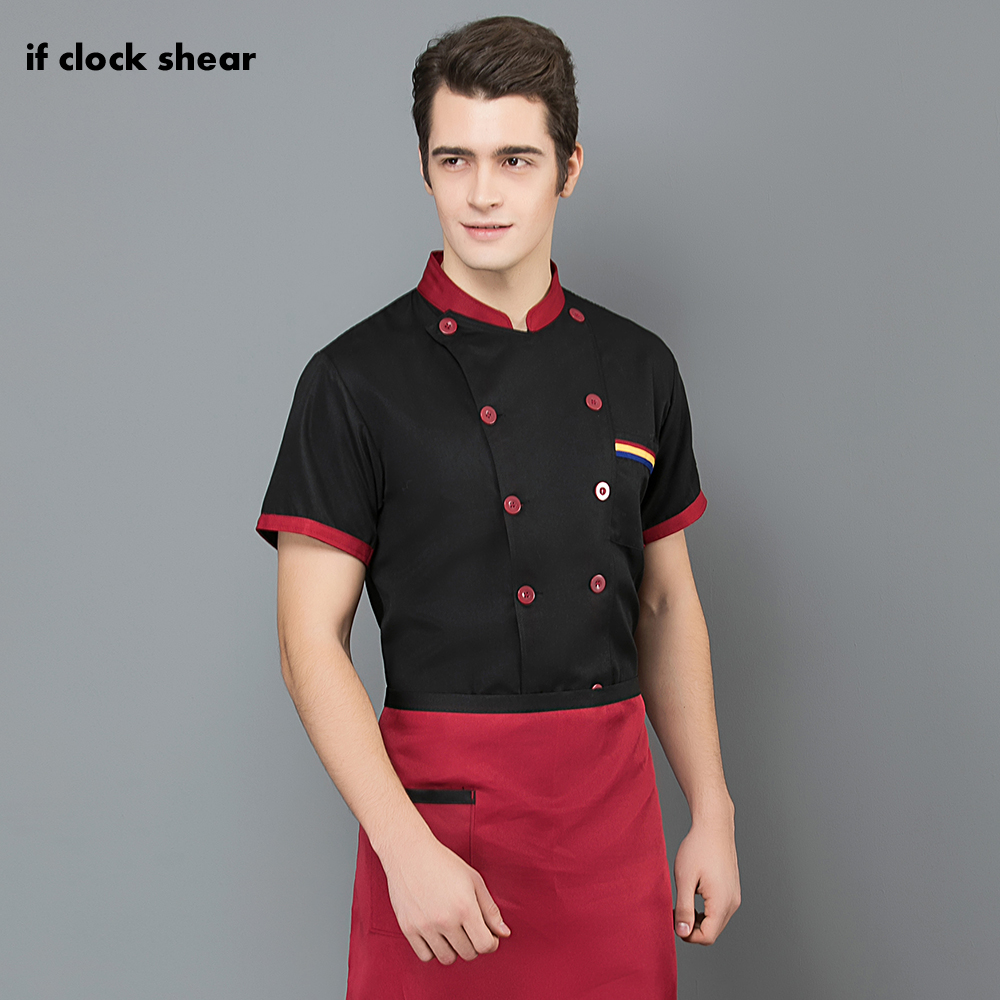 Breathable Short Sleeved Chef Jacket Unisex Hotel Restaurant Kitchen Coat Chef Uniform Work Clothes Men's Professional Clothing