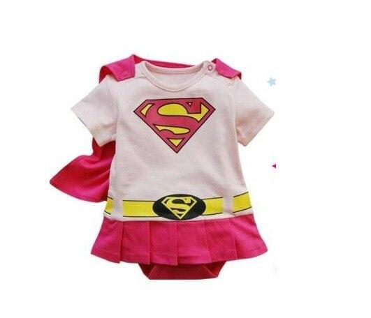 4 sets/lot Super Girl Baby Romper Infant Dress Smock Cloak Fashion Toddler Costume Short Sleeve Pink Color