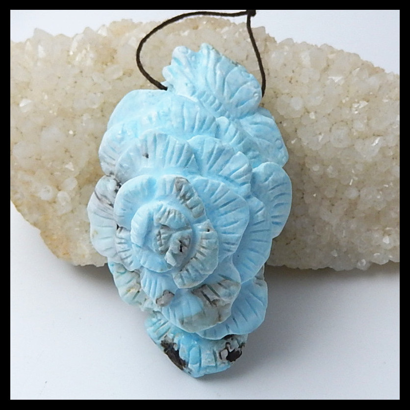 Natural stone Larimar Carved flower fashion jewelry necklace Pendant,72x42x32mm,83.2g natural stone larimar carved flower fashion jewelry necklace pendant 72x42x32mm 83 2g
