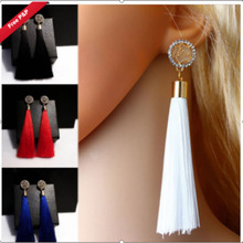 цена на Bohemia Style Tassel Earrings Colorful Alloy Drill Round Drop Earrings for Women Wedding Long Fringed Earrings Gift