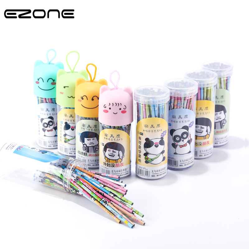 EZONE 20PCS Pen Refill Black/Blue Ink Permanent Color Cartoon Pattern Plastic Bucket Packing 0.5mm Needle Nose Pen School Supply